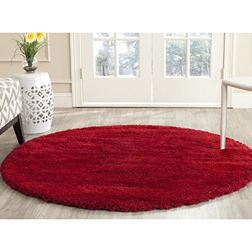 Safavieh Milan Shag Collection SG180-4040 Red Round Area Rug (7' Diameter) (Area Shag Rugs Red)