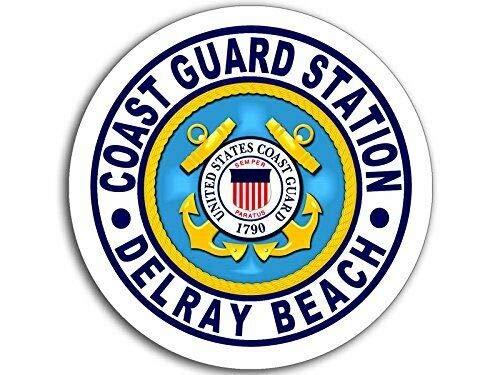 MAGNET 4x4 inch Round Coast Guard Station Delray Beach Logo Sticker (USCG Navy fl) Magnetic vinyl bumper sticker sticks to any metal fridge, car, signs ()