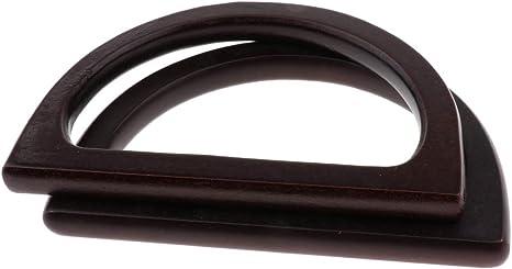 2er Pack Holz Handtasche Griff Taschengriffe rund Taschenhenkel für