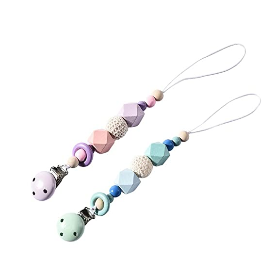 BOBORA - Juego de 2 clips para chupete de bebé, con cuentas de madera y flores, A