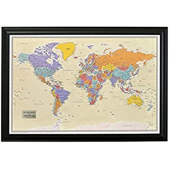 Amazon.com: Push Pin Travel Maps Executive World with Black Frame ...