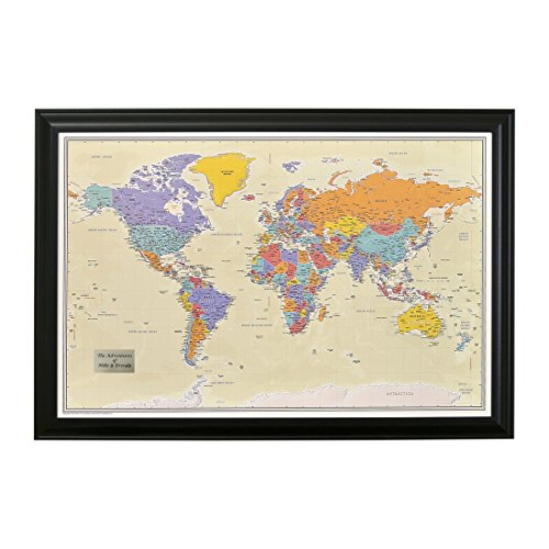 Tan Map (Push Pin Travel Maps Personalized with Black Frame and Pins 24 x 36 - Tan Oceans)