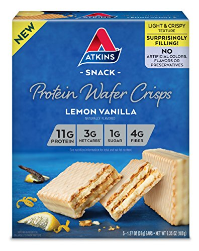 Atkins Protein Wafer Crisps, Lemon Vanilla, 5 Count