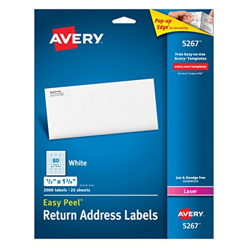 Avery Easy Peel Return Address Labels for Laser Printers 1/2' x 1-3/4', Box of 2,000 (5267)