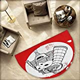 Kabuki Mask Half Round Door mats Asian Ethnic Mask Design with Grunge Stained Look Ronin Fighter Face Bathroom Mat H 55.1'' xD 82.6'' Red White and Black