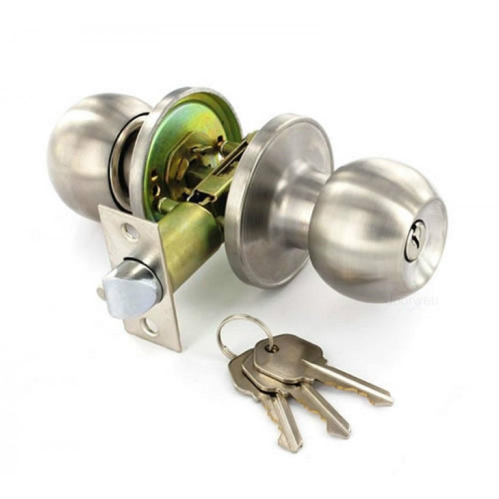 Satin Stainless Steel Door Knob Set Entrance Key Locking Amazon