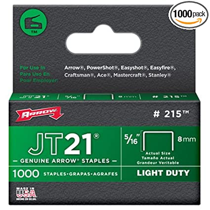 Arrow Fastener 215 Genuine JT21/T27 5/16-Inch Staples, 1,000-