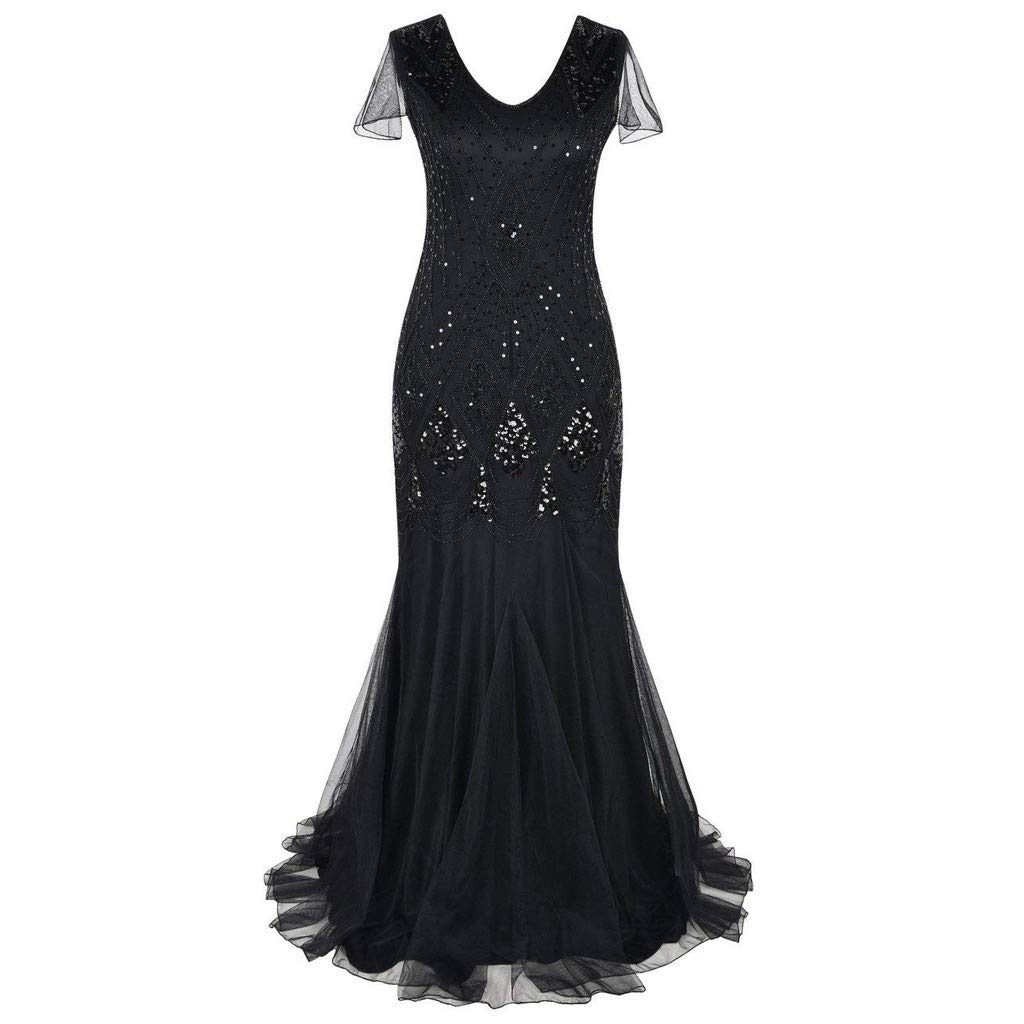 Women's Vintage Sequin Dress,CSSD V-Neck Short Sleeve Mesh Long Dress Wedding Prom Sexy Dresses (XL, Black)
