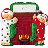 Hanging Stockings on Fireplace Mantle Personalized Christmas Ornament (Family of 2) - Handpainted Resin - 4'' Tall - Free Customization by Calliope Designs