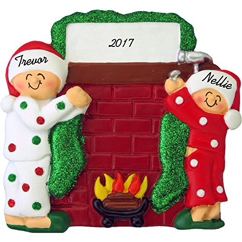(Hanging Stockings on Fireplace Mantle Personalized Christmas Ornament (Family of 2) - Handpainted Resin - 4