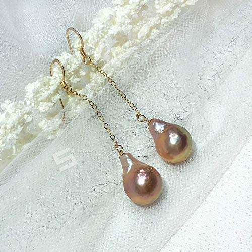 Golden Tone Real Pearls Earrings, 12x19MM Large Freshwater Baroque Pearls In 14K Gold Filled Dangle Earrings, Fireball Pearl Earrings