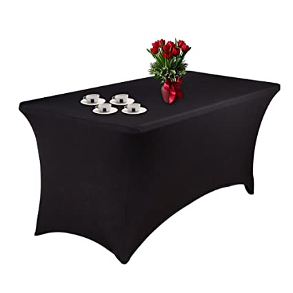 Spandex Table Cover Stretch Tablecloth 6ft Rectangular Fitted Wedding Banquet Trestle Table Black (183CM)  sc 1 st  Amazon UK & Spandex Table Cover Stretch Tablecloth 6ft Rectangular Fitted ...