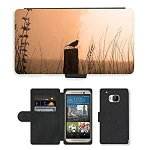 Hot Style Cell Phone Card Slot PU Leather Wallet Case // M00116014 Blackbird Morning Sunrise Fog Bird // HTC One M9