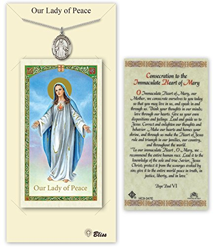 Pewter Our Lady of Peace Medal with Laminated Holy Prayer Card