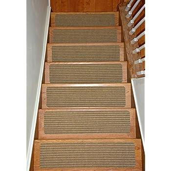 Stair Treads Collection Indoor Skid Slip Resistant Carpet Stair Tread Treads  (Beige, Set Of