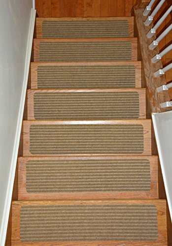 Stair Treads Collection Indoor Skid Slip Resistant Carpet Stair Tread Treads (Beige, Set of 13 (8 in x 30 in)) (Best Carpet For Stairs)