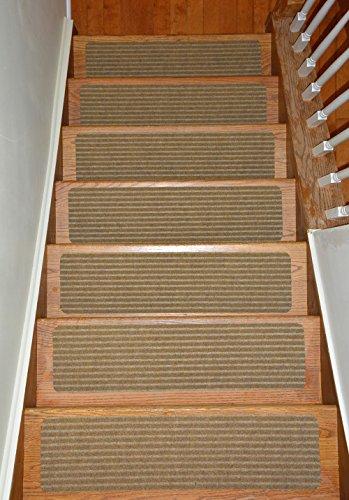 Stair Treads Collection Indoor Skid Slip Resistant Carpet Stair Tread Treads (Beige, Set of 13 (8 in x 30 in))