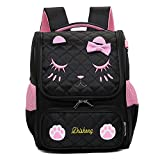 YQWEL Cute Cat Face Bow Diamond Bling Waterproof Pink School Backpack Girls Book
