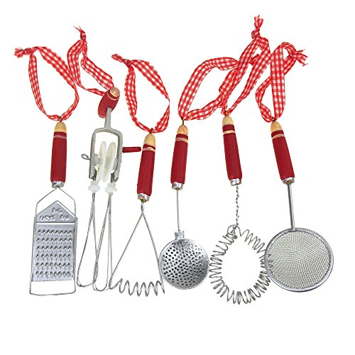 (Mini Kitchen Tools Christmas Tree Ornaments, Red, 5-1/2-Inch, 6-Piece)