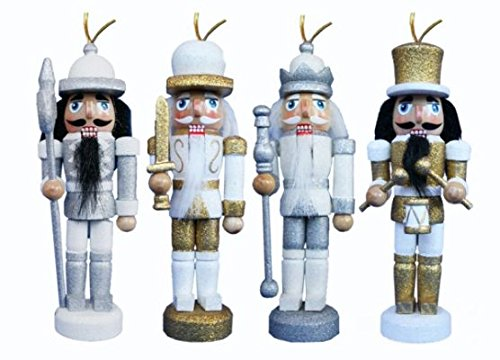 Christmas Nutcracker Figure Soldier Ornaments Silver and Gold Wood Set of 4