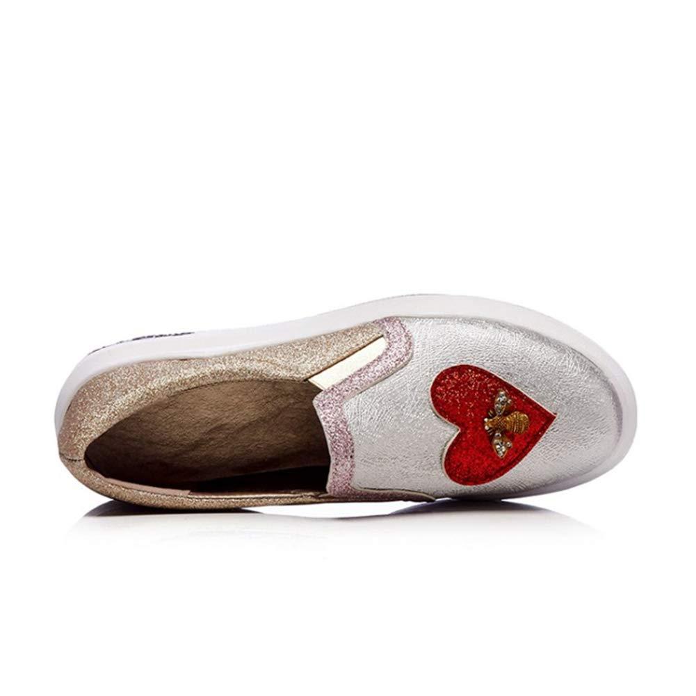 Femmes Cuir Verni Glitter Bling Mocassins Occasionnels Printemps Automne Glissement sur Coeur Abeille D/éCoration Appartements Plate-Forme Chaussures
