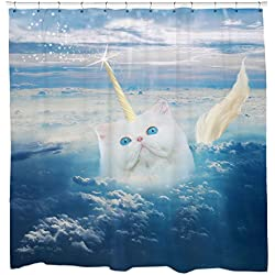 Funny Cat Shower Curtain Caticorn Unicorn In The Sky Blue Fabric Waterproof Mildew Resistant 12 Hooks