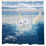 Sharp Shirter Unicorn Cat Shower Curtain Set Blue White Cloud Art Caticorn Waterproof Fabric Hooks Included 72 x 72