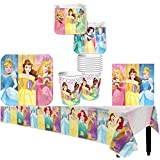 Disney Princess Girls Birthday Party Supplies Pack for 8 Guests - Lunch Plates, Dessert Plates (4 of Each Desing), Lunch Napkins, Cups, and a Table Cover