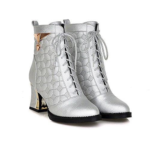 VogueZone009 Damen Hoher Absatz Rein Rund Zehe Weiches Material Schnüren Stiefel, Silber, 38