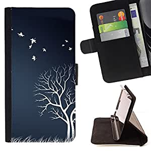 DEVIL CASE - FOR Samsung ALPHA G850 - White Tree Birds Field Nature Artwork Autumn - Style PU Leather Case Wallet Flip Stand Flap Closure Cover