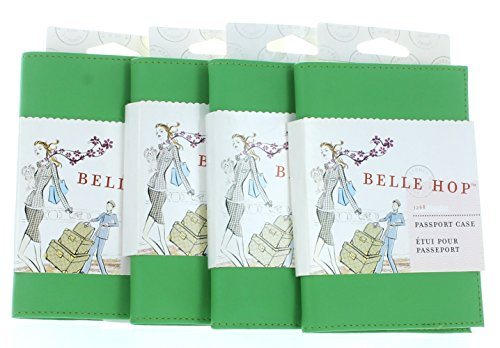 Belle Hop Lot of 4 Green Leather Passport Holder Travel Case Belle Hop Passport Case