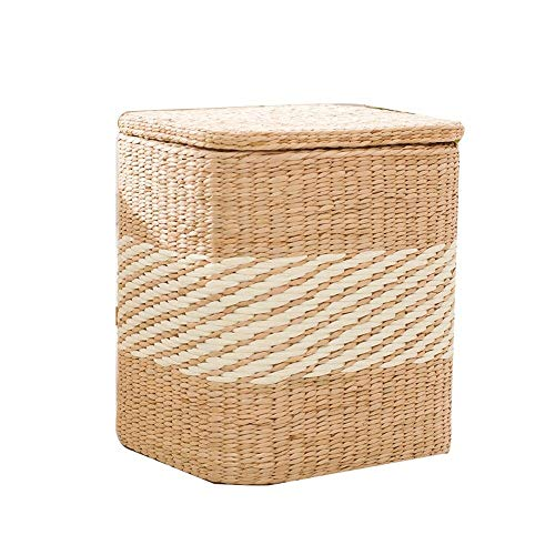 TESSKy Natural Handmade Rustic Rattan Footstool Straw Cushion Pouf Ottoman Floor Seating Footstool Rest Chair Home Decor Furniture for Garden Terrace Balcony Camping from TESSKy