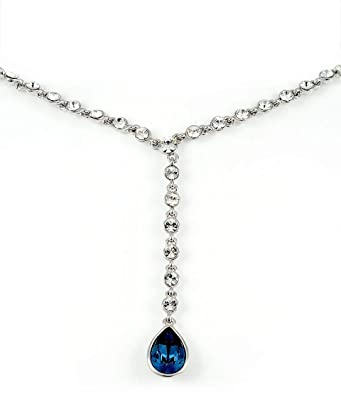 268eec3a5c Swarovski Elements Women's 18K White Gold Plated Necklace Encrusted with Navy  Blue Swarovski Crystals [SWR