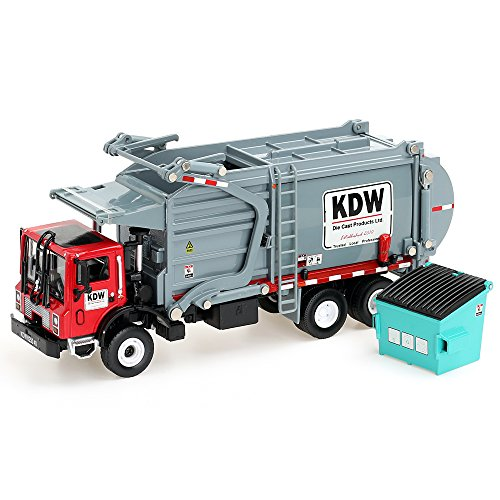 duturpo 1/43 Scale Diecast Collectible Waste Management Truck with Trash Bin, Metal Recycling Garbage Truck Toys for Kids (Gray)
