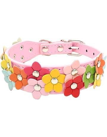 POPETPOP Collar para Mascota Collar para Perro y Gato con decoración de Flores Collares Lindos para