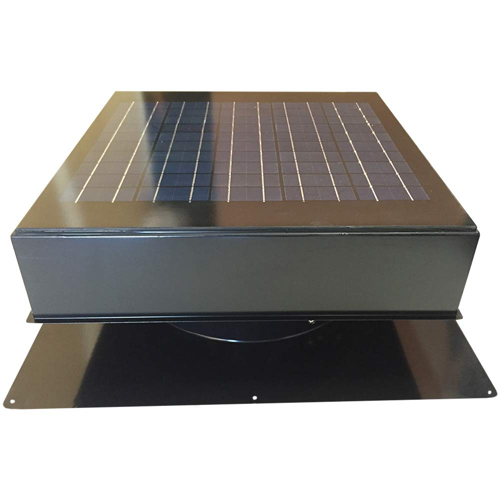 Remington Solar Attic Fan Solar 20 Watt Solar-Powered Roof Mounted with Bonus Thermostat and Humidistat Pre-Installed Quiet Brushless 24V DC Motor Easy Installation Exhaust Fan in Black
