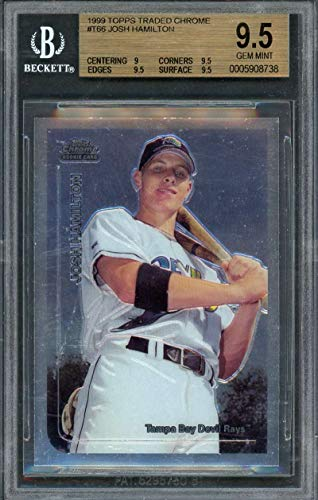 1999 topps traded chrome #t66 JOSH HAMILTON rookie card BGS 9.5 (9 9.5 9.5 9.5) Graded Card (Hamilton Rookie Card)