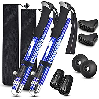 COVACURE Trekking Poles - 2 Pack Collapsible Aluminum Hiking Poles with Quick Lock System, Folding, Telescopic… 8