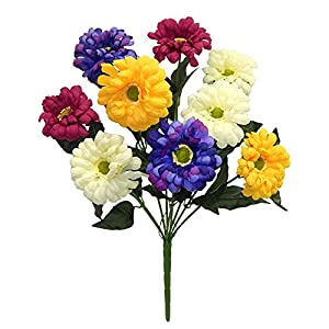 "23"" Multi Color Zinnia Bush Artificial Silk Wedding Craft Flowerw Home Party Decoration 9 Zinnias 87"
