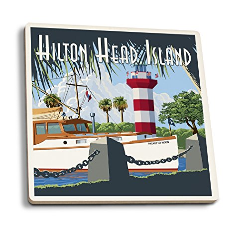 Lantern Press Hilton Head Island, South Carolina - Harbour Town Lighthouse (Set of 4 Ceramic Coasters - Cork-Backed, Absorbent)