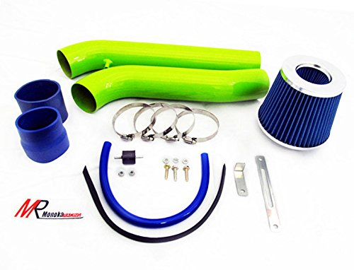 Blue Piping Model - 92 93 94 95 Honda Civic with 1.5L/1.6L Engine (CX/DX/LX/EX/Si) GREEN Piping Cold Air Intake System Kit with Blue Filter