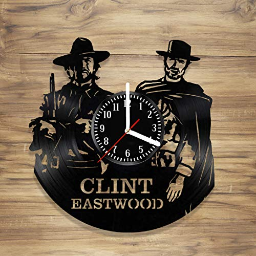 Clint Eastwood Vinyl Wall Clock Spaghetti Western Rawhide Dirty Harry Cowboy Handmade Decorate Home Style Unique Gift idea Him Her 12 inches
