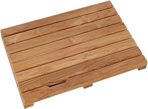 GLS Non-Slip Rectangular Spa Shower Tub Mat or Door Floor Mats for Hotel,Bathroom,Shower,Teak 23.6 x 15.7 x 1.4 inch