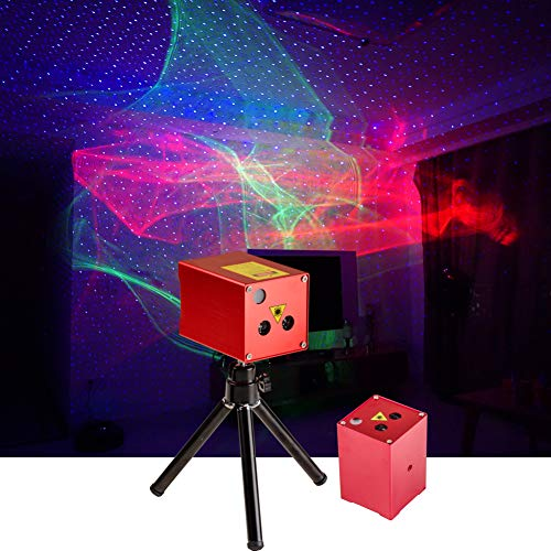 Sharelife Mini Portable RG Hypnotic Aurora Mixed Blue Star Projector Tripod USB Light Built-in 1200MA Rechargeable Battery for Home Party DJ Outdoor Stage Lighting Effect DP-AS100