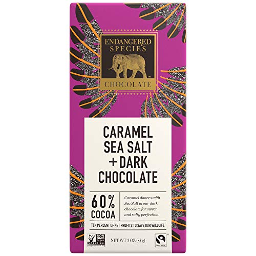 Endangered Species Eagle, Fair Trade Dark Chocolate with Caramel and Sea Salt Bar, 60% Cocoa - 3 Ounce Bars (12 Pack)