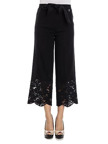 TWIN SET - Pantaloni in popeline con pizzo al fondo PS7292