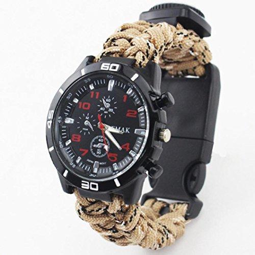 Surveillance Starter (jiayit Umbrella Braided Multi-function Survival Watch Bracelet Compass Fire Starter Whistle New (Khaki))