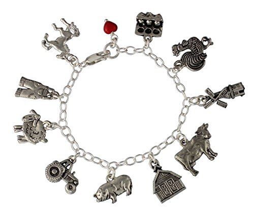 Farm Charm Bracelet - Pewter Barnyard Animal Charms on a Sterling Silver Chain- Cow, Pig, Rooster, Barn, Tractor, Overall Charms- Made in USA - Sizes XL (8.5