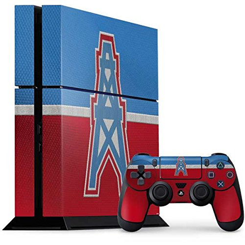 Skinit NFL Houston Texans PS4 Console and Controller Bundle Skin - Houston Oilers Vintage Design - Ultra Thin, Lightweight Vinyl Decal Protection