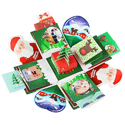 Kicpot Christmas Explosion Box, Scrapbook DIY Photo Album Suprise Box with More Than 18 Kinds DIY Accessories Kit Merry Christmas Gift ()
